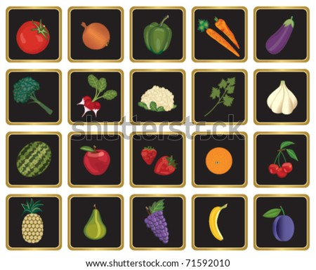 Fruits and vegetables symbols - stock vector