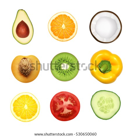 Fruits and vegetables. Top view icons. EPS10 vector