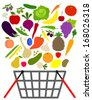 fruits and veggies with shopping basket - stock photo