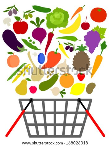 fruits and veggies with shopping basket - stock vector