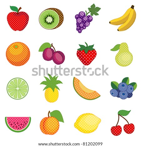 Fruits, apple, kiwi, grapes, banana, orange, plum, strawberry, pear, lime, pineapple, cantaloupe, blueberry, watermelon, peach, lemon, cherry, polka dot design, EPS8 compatible.