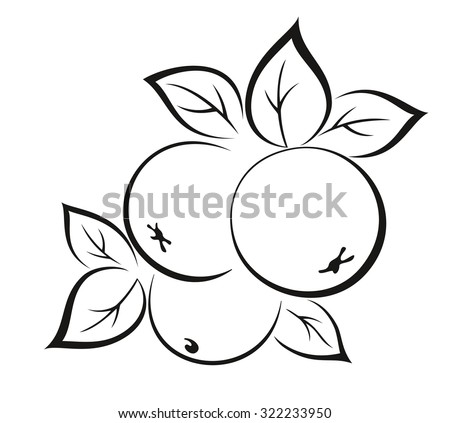 Fruits, Apples with Leaves Monochrome Black Pictogram Isolated on White Background. Vector - stock vector