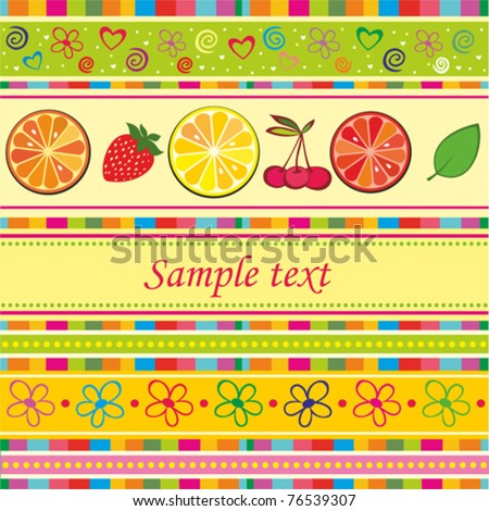 Fruits background with space for your text. vector illustration