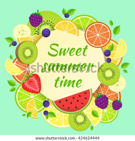 Fruits bright composition. Summer fruits and berries vector illustration. Easy to edit design template.