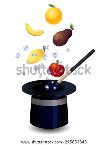 Fruits coming out of the magician's hat vector