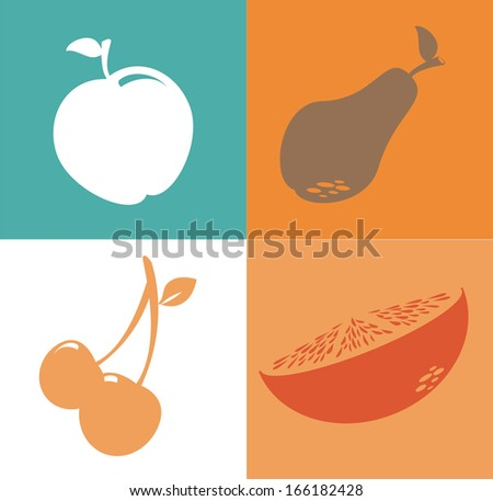 fruits design over colors background vector illustration