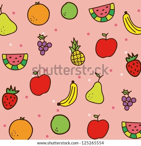 fruits drawing over pink background. vector illustration