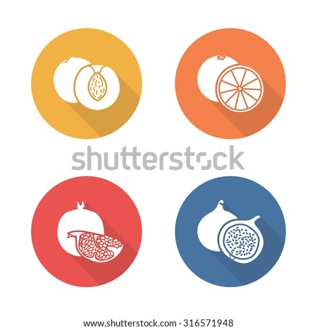 Fruits flat design icons set. Half sliced yellow apricot and red pomegranate with seeds. Sweet summer fruits. Vegetarian dessert salad. Long shadow silhouette symbols. Vector infographics elements - stock vector