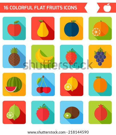 Fruits flat icon set. Colorful template for cooking, restaurant menu and vegetarian food  - stock vector