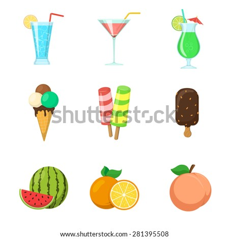 Fruits. Ice cream. Drinks. Summer food icons isolated on white. Vector symbols collection. - stock vector