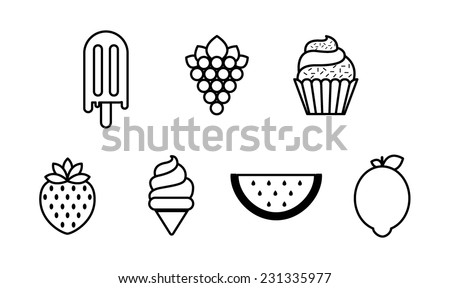 fruits icon set. modern outline design