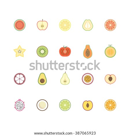 Fruits icon set. vector illustration.