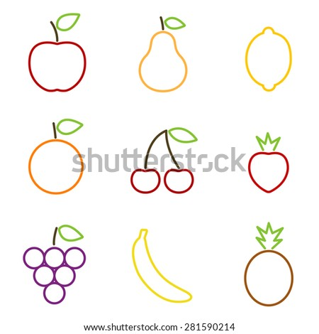 Fruits icons colorful outline. Vector illustration. - stock vector