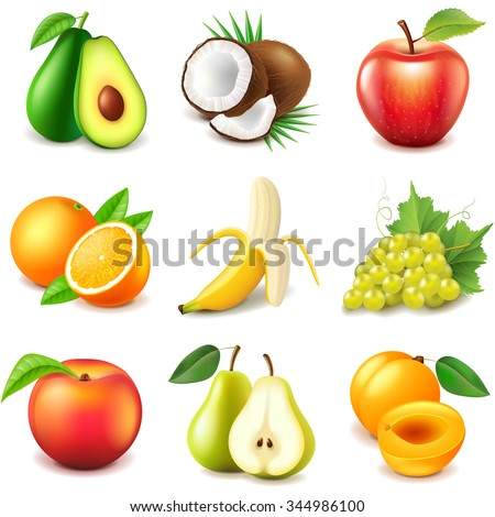 Fruits icons detailed photo realistic vector set - stock vector