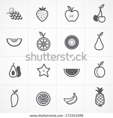 Fruits icons set - stock vector