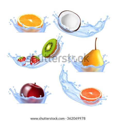 Fruits in splashing water. Set of vector icons. EPS10 vector - stock vector