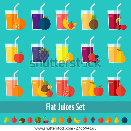 Fruits juices flat icons set. Colorful template for cooking, restaurant menu and vegetarian food
