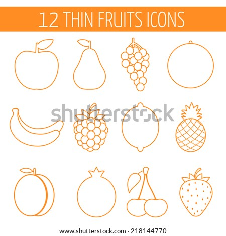Fruits line icon set. Colorful template for cooking, restaurant menu and vegetarian food  - stock vector