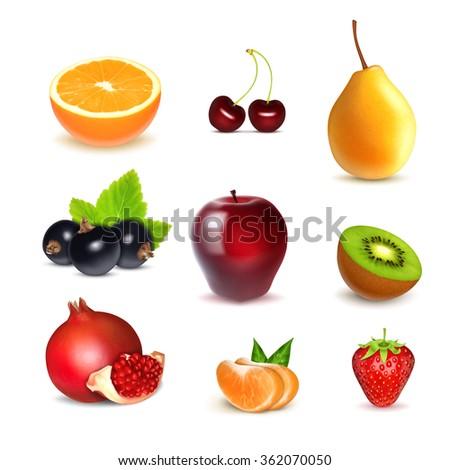 Fruits. Orange, cherry, pear, apple, black currant, kiwi, tangerine, strawberry, pomegranate. Set of icons vector. EPS10 vector - stock vector