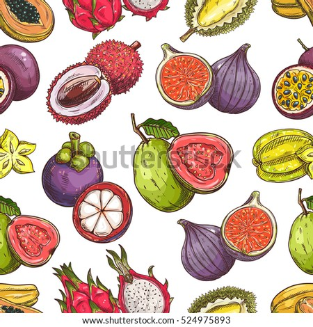 Fruits pattern. Vector seamless background of fresh exotic and tropical fruits. Whole and cut sliced durian, figs, carambola, dragon fruit, guava, lychee, passion fruit maracuya, papaya.