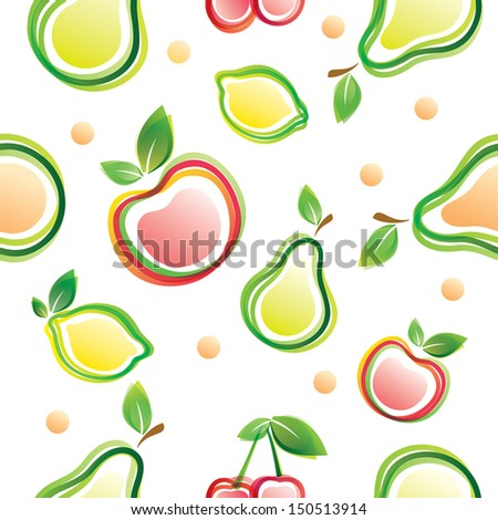 fruits seamless background - stock vector