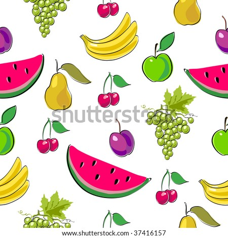 Fruits seamless background. (See more seamless backgrounds in my portfolio). - stock vector
