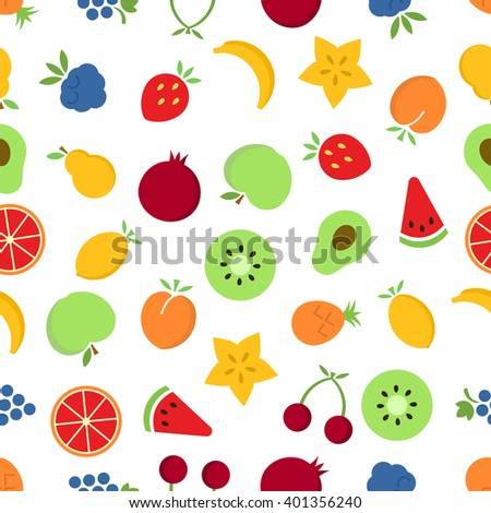 Fruits seamless pattern. Colorful fruits on white background. Vector background EPS 8. - stock vector