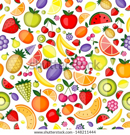 Fruits seamless pattern for your design - stock vector