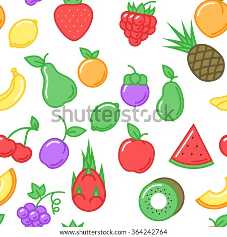 Fruits seamless pattern  on white background, natural and healthy food. Vector illustration for your design