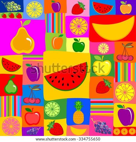 Fruits seamless pattern. Vector Illustration - stock vector