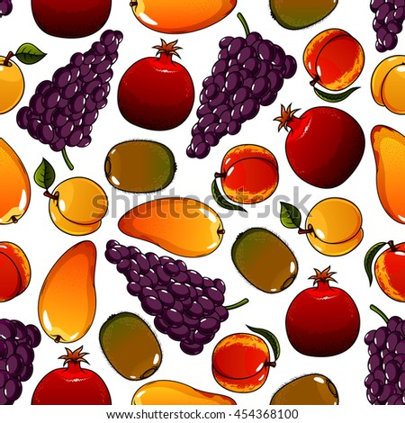 Fruits seamless pattern with pear and ripe garnet or pomegranate, apricot and tasty kiwi, bunch or cluster of grape. Can be used for agricultural or dessert theme - stock vector
