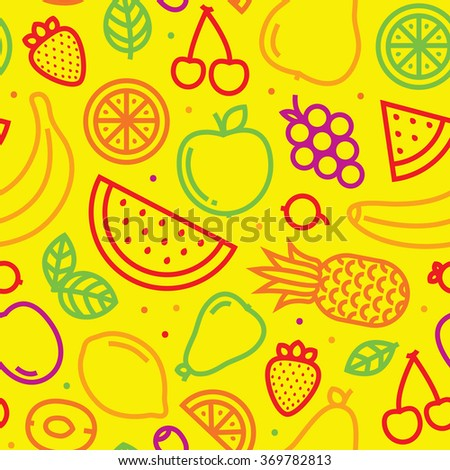 Fruits seamless vector pattern on yellow