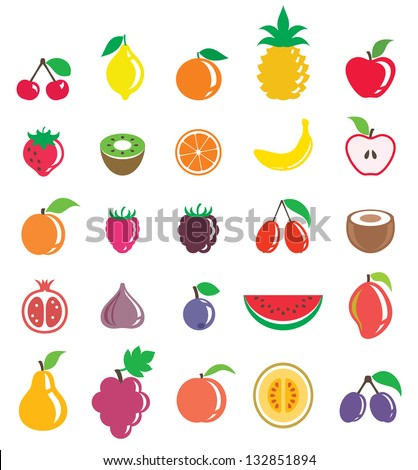 Fruits set - stock vector