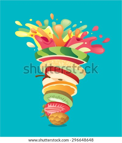 Fruits stack mixed juice splash twister - pineapple, strawberry, kiwi, orange, apple, melon, watermelon - stock vector
