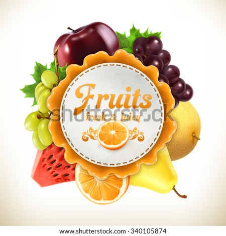 Fruits, vector label - stock vector