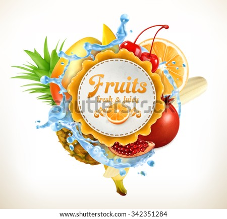 Fruits vector label - stock vector