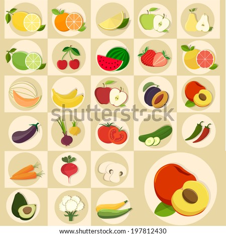 Fruits vector set - stock vector
