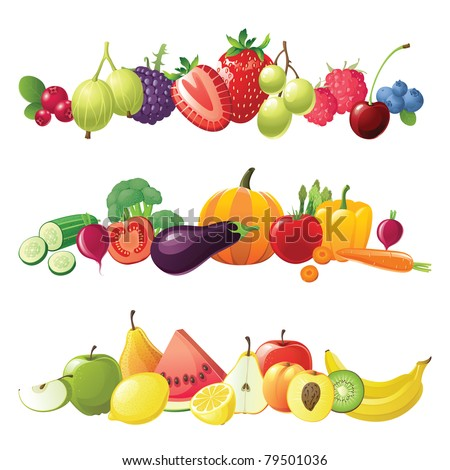 fruits vegetables and berries vector borders - stock vector