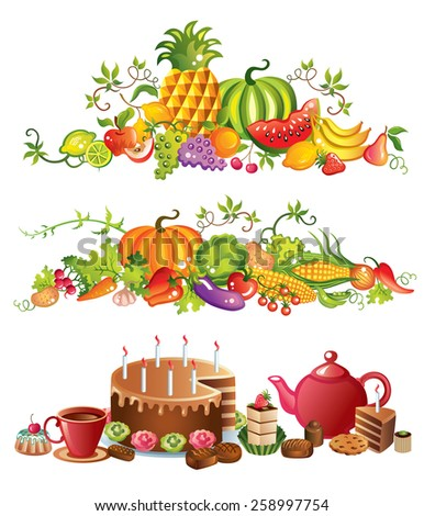 Fruits, vegetables and sweets vector illustration