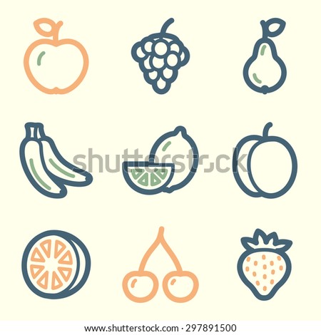 Fruits web icons, square buttons