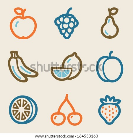Fruits web icons, vintage series - stock vector