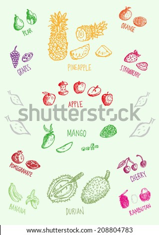 Fruits Whole Sliced and Cut Doodle Collection 1. Vector eps10