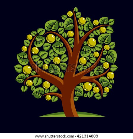 Fruity tree with ripe apples isolated on white. Wealth and prosperity conceptual illustration. - stock vector