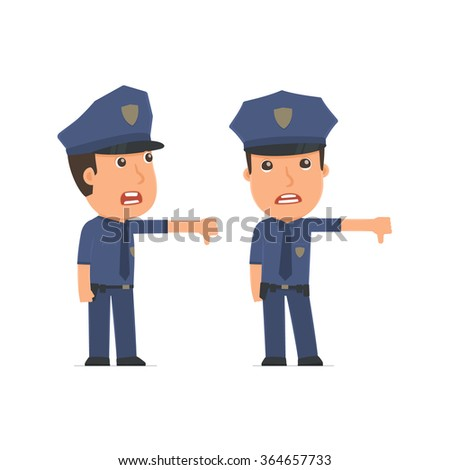 Frustrated and Angry Character Officer showing thumb down as a symbol of negative. for use in presentations, etc.