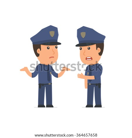 Frustrated Character Officer can not help to solve the problem. Poses for interaction with other characters from this series
