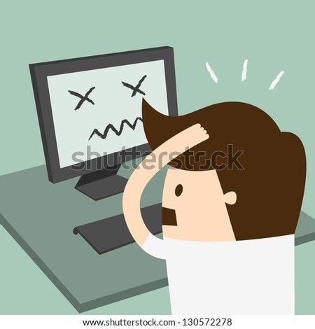 Frustrated man sitting desperate over work at desk - stock vector