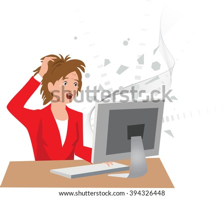 Frustrated woman at a crashed computer with a lost data - stock vector