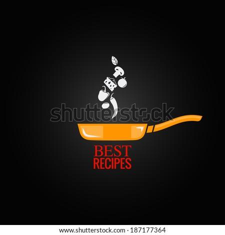 frying pan design menu background - stock vector