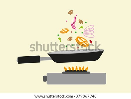 Frying Pan in Action with a Gas Oven. Editable Clip Art.  - stock vector