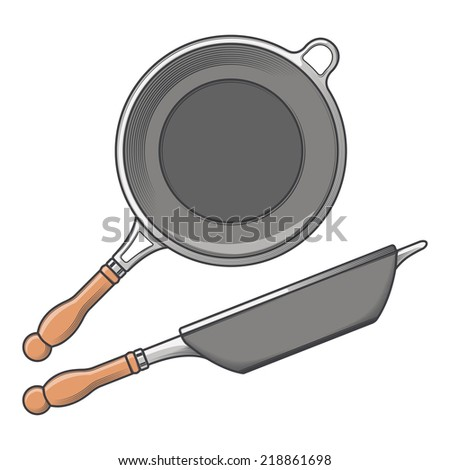 Frying pans (side and top view) isolated on a white background. Color line art. Cookware retro design. Vector illustration. - stock vector